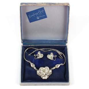 Eisenberg layered diamante pansy flower pendant