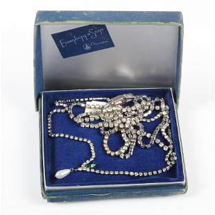Two prong-set rhinestone necklaces: long early
