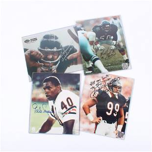 Lot of 4 Chicago Bears Greats Autographed 8x10 Photos,
