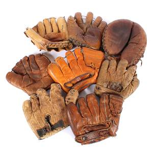 Lot of 8 Vintage Baseball Gloves, Mantle, Kell, Feller