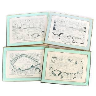 4 Framed Defunct MLB Stadium Lithos with Historical