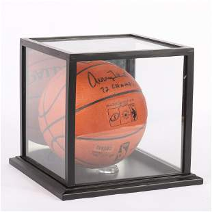 Jerry West Autographed FS Basketball w/Display Case,