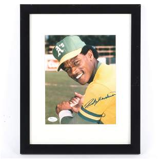 Rickey Henderson Autographed & Framed 8x10 Photo, JSA