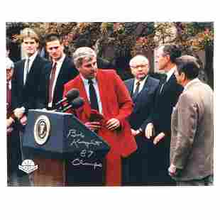 Bob Knight Autographed 16x20 Photo with President