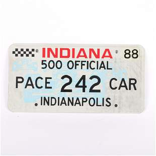 1988 Indianapolis 500 Official Pace Car License Plate