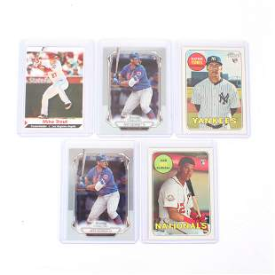 5 Rookie Baseball Cards, Trout SI, Alsono, Soto, Torres
