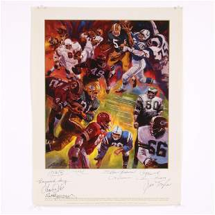 Pro Football Hall of Famers Lithograph - Hand Signed by
