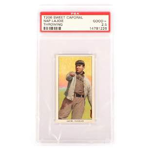 T206 Sweet Caporal Nap Lajoie Throwing Baseball Card