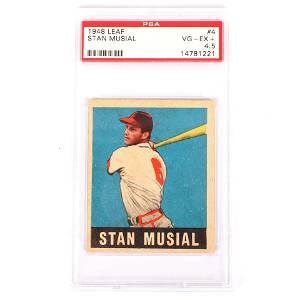 1948 Leaf Stan Musial Rookie Baseball Card #4, PSA 4.5