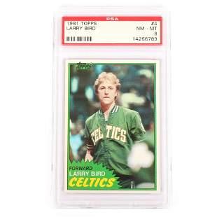 1981 Topps Larry Bird Basketball Card #4, PSA 8 NM-MT