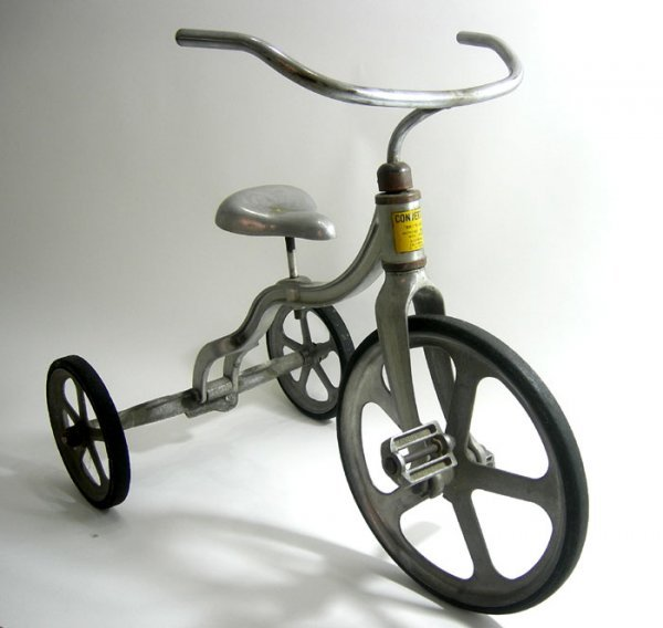 106: MACHINE AGE ART DECO ALUMINUM CONVERT-O TRICYCLE