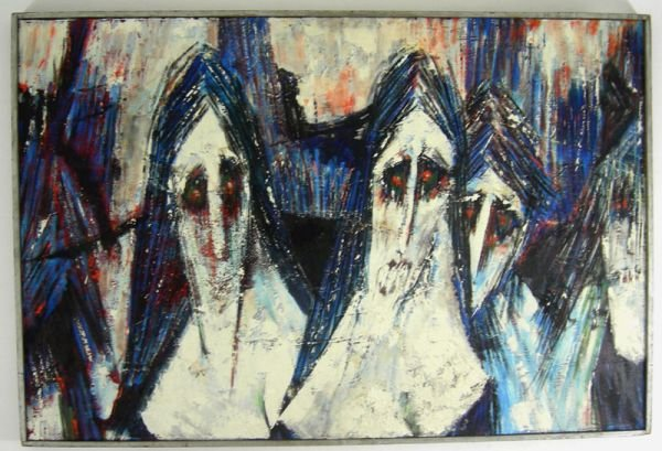 112: K SNODGRASS FIGURAL ABSTRACT OIL PAINTING c 1960