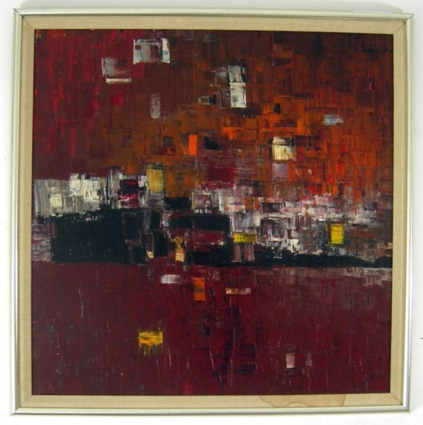 113: EK BRAMS MODERNIST OIL PAINTING c1950 mid century