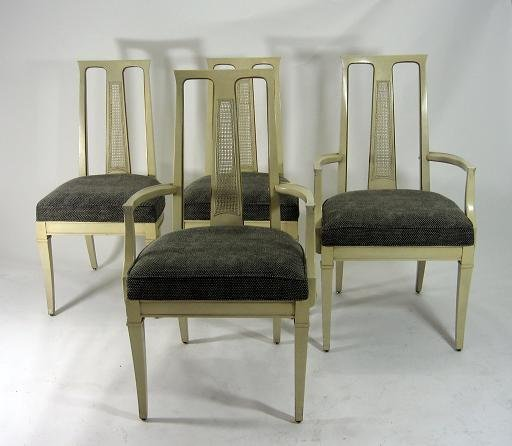 123: MODERN HOLLYWOOD REGENCY PAN ASIAN DINING CHAIRS