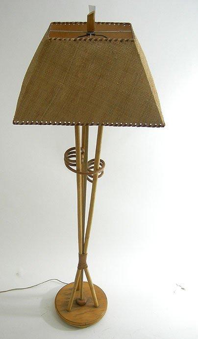 157: RETRO MODERN RATTAN FLOOR LAMP EAMES ERA TIKI