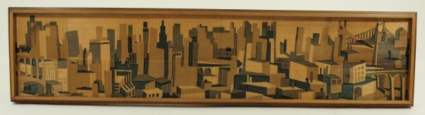 1014: Cubist Style Cityscape Wall Relief Abstract