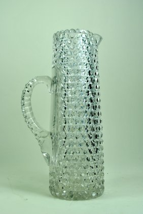 Allover Hobnail Pattern Cut Glass Champagne Pitcher