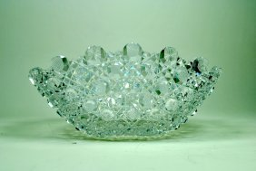Well-Cut Harvard Pattern Cut Glass Banana Bowl