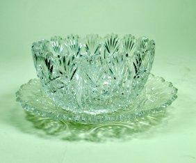 American Brilliant Cut Glass Finger Bowl & Underplate