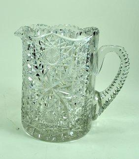 Hobstar & Star Pattern Brilliant Cut Glass Pitcher