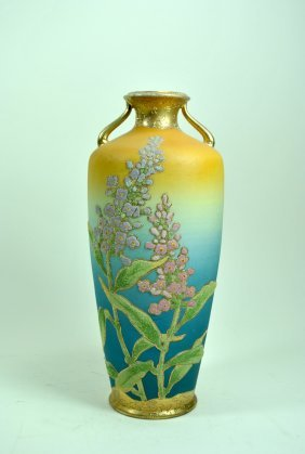 Signed Japanese Coralene 2 Handled Vase
