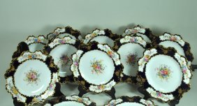 10 Royal Crown Derby Hand Painted & Enameled Plates