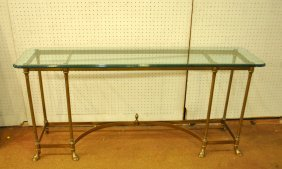 Mid-Century Brass Clawfoot Console Table