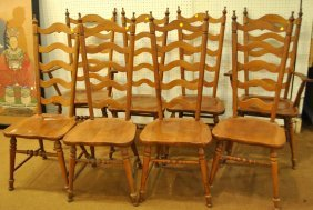 Set of 8 Tell City Maple Ladder Back Dining Chairs