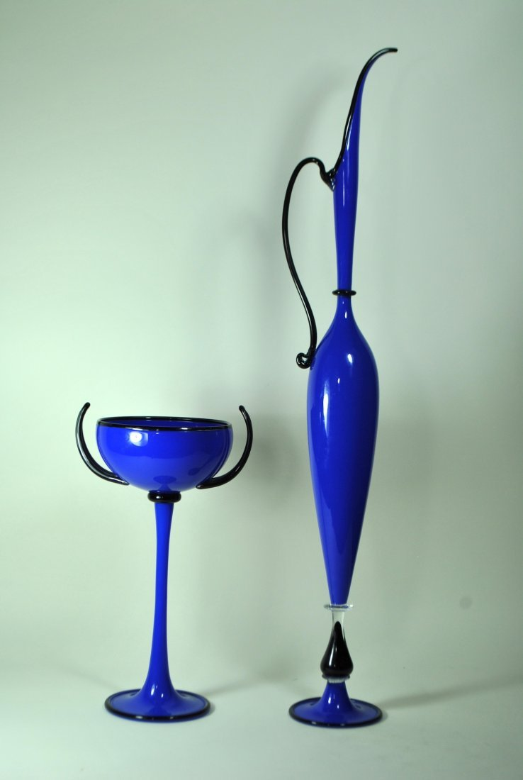 2 Pc. Dante Marioni Blue & Black Blown Glass Set