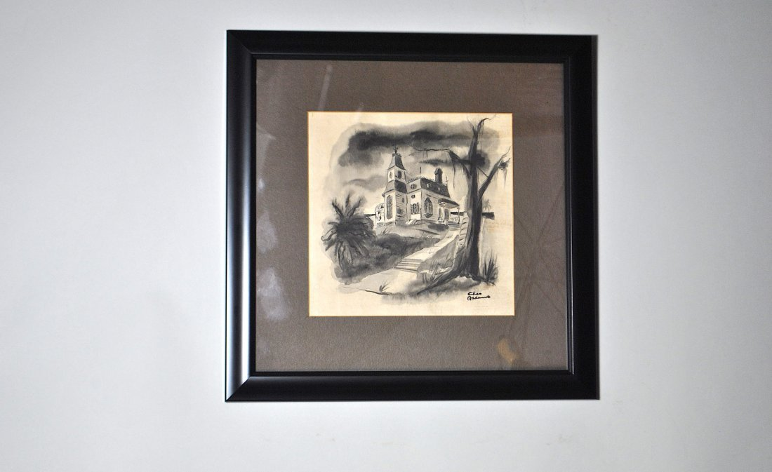 Signed Charles Addams Watercolor, Ink & Wash on Paper