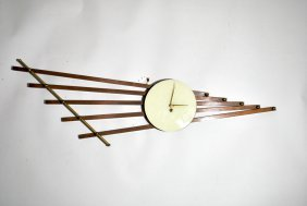French Teak & Brass Wall Clock W/lucite Face