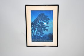 Signed Hasui Kawase Block Print 'full Moon In Megome'