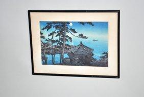 Signed Hasui Kawase Block Print 'full Moon At Izu-ura'
