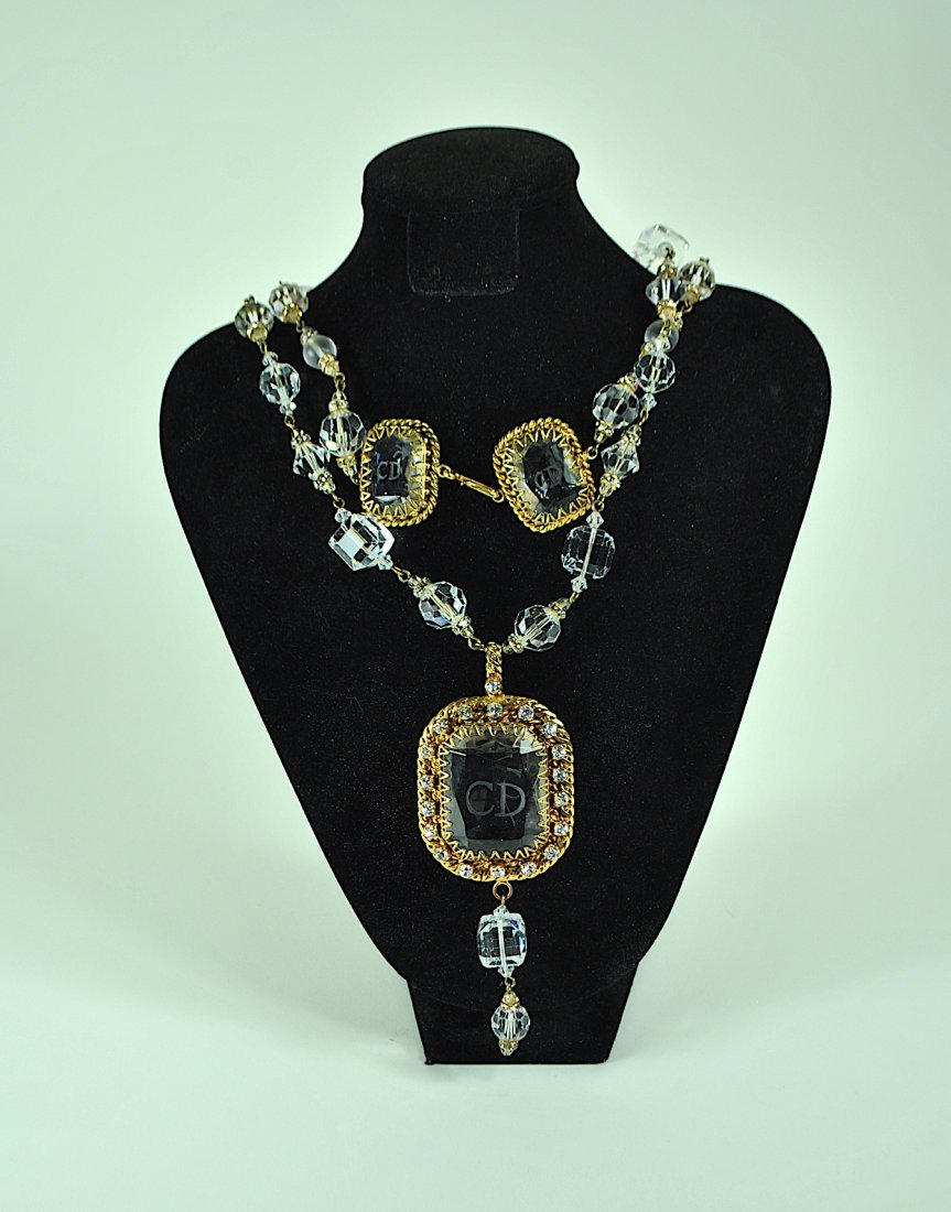 Signed Christian Dior Crystal & Rhinestone Necklace