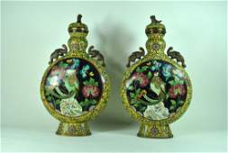 Pr. Chinese Cloisonne 2 Handled Covered Jars