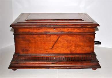 Regina Double Comb Mahogany Music Box w/Storage Drawer