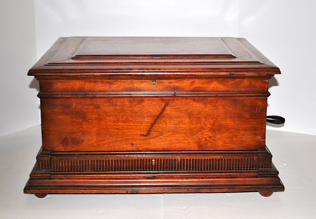Regina Double Comb Mahogany Music Box w/Storage Drawer
