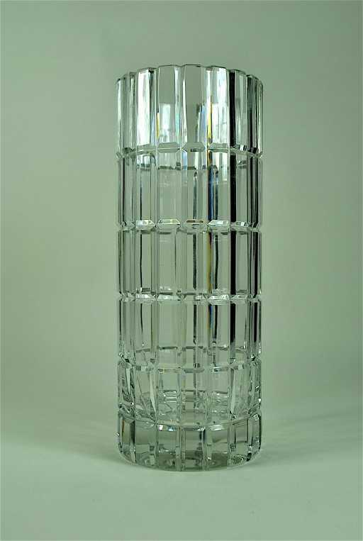 Signed Cartier Cut Crystal Cylinder Vase
