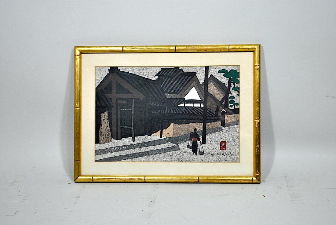 Signed Kiyoshi Saito Woodcut 'Village Scene'