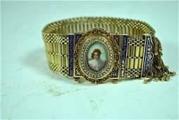 Victorian 14k Enamel Bracelet wHand Painted Portrait