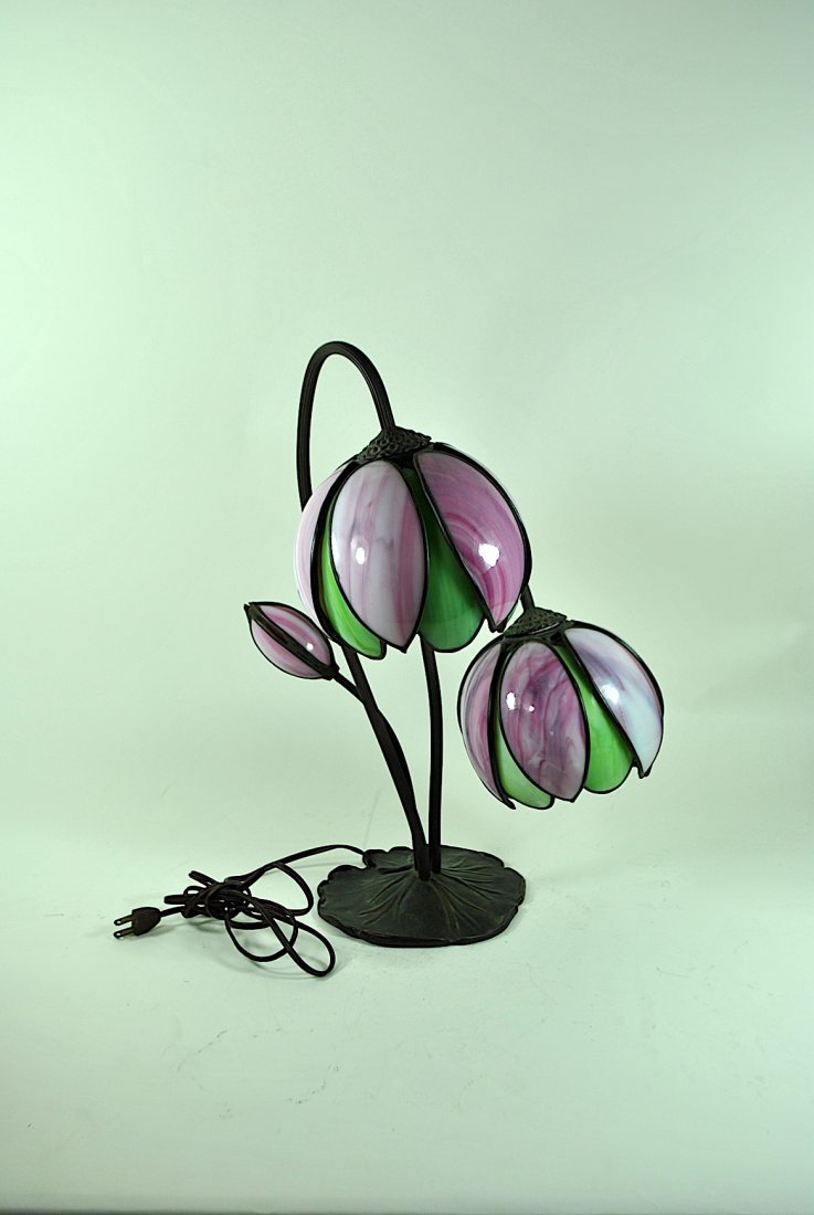 Handel Bronze & Slag Glass Double Tulip Lamp