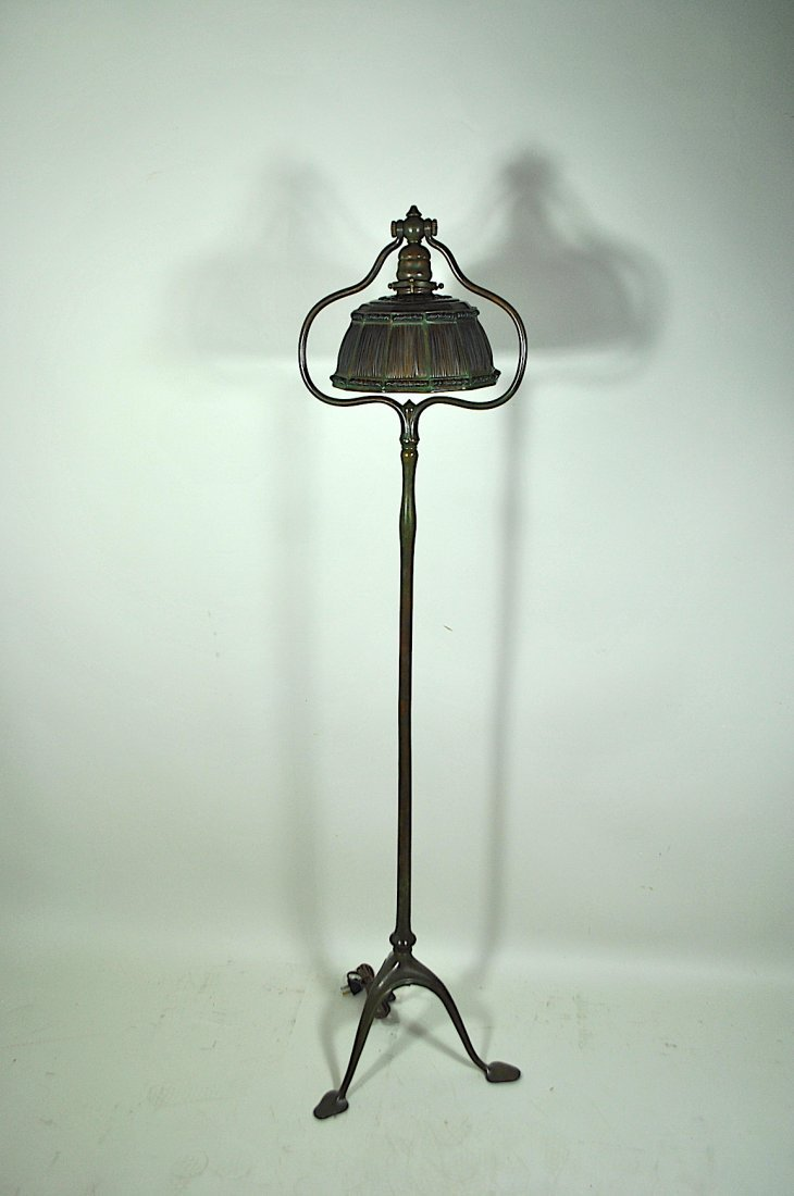 Tiffany Bronze Floor Lamp w/Linenfold Shade