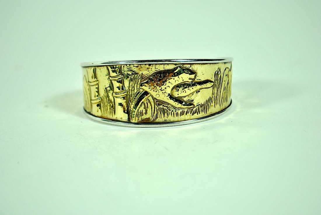 Sterling & 18k Graduated 'Jungle Scene' Cuff Bracelet