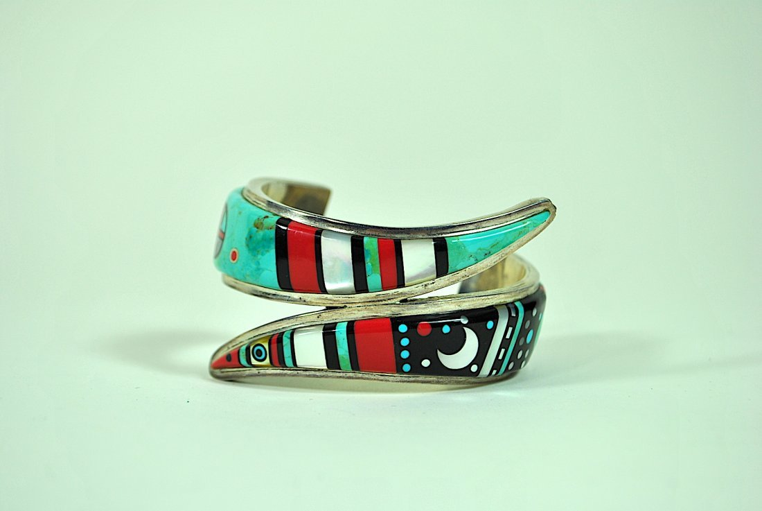 Zuni Style 'Sunrise/Sunset' Sterling Cuff Bracelet