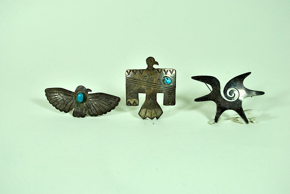 3 Native American Sterling Pins