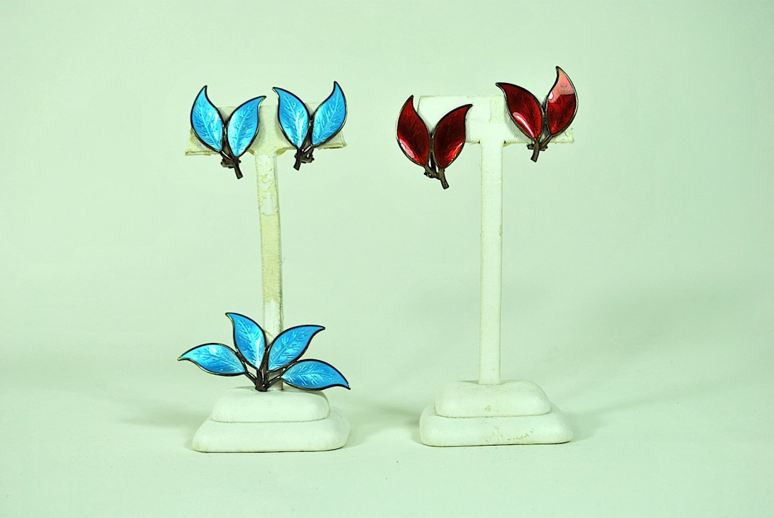 3 Pcs Signed David Andersen Sterling & Enamel Jewelry