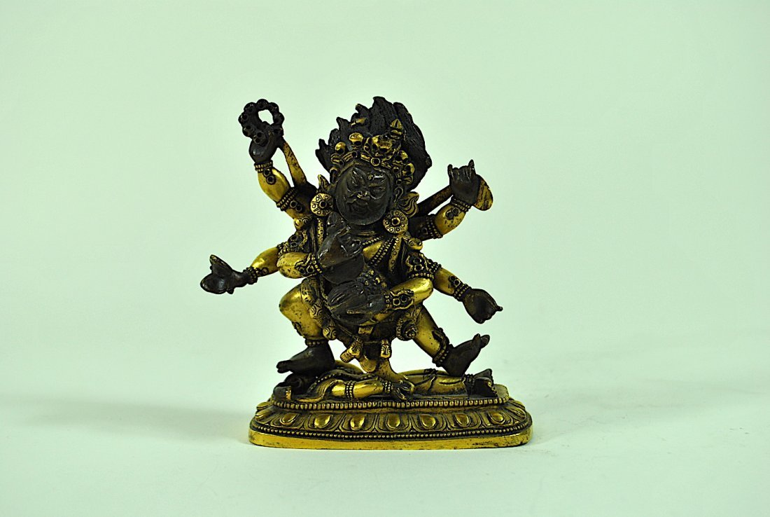 Tibeto-Chinese 2 Part Gilt Bronze Figure of Mahakala