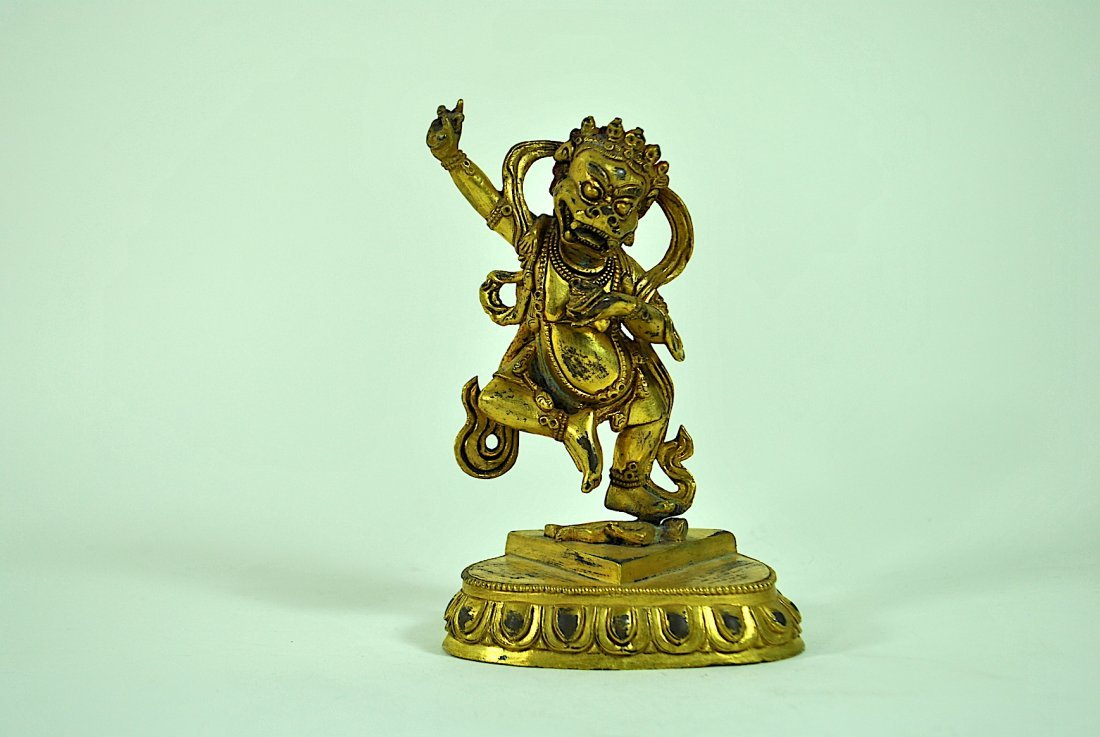 Tibeto-Chinese Gilt Bronze Figure of Simhavaktra