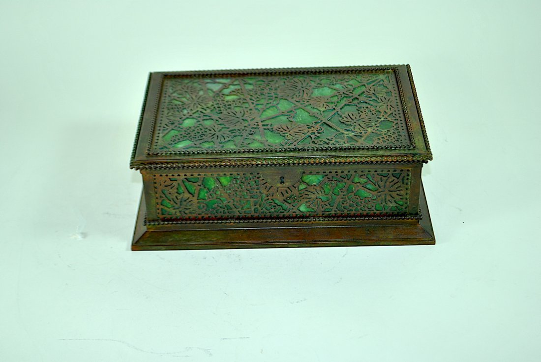 Tiffany Studios NY Grapevine Bronze & Slag Glass Box