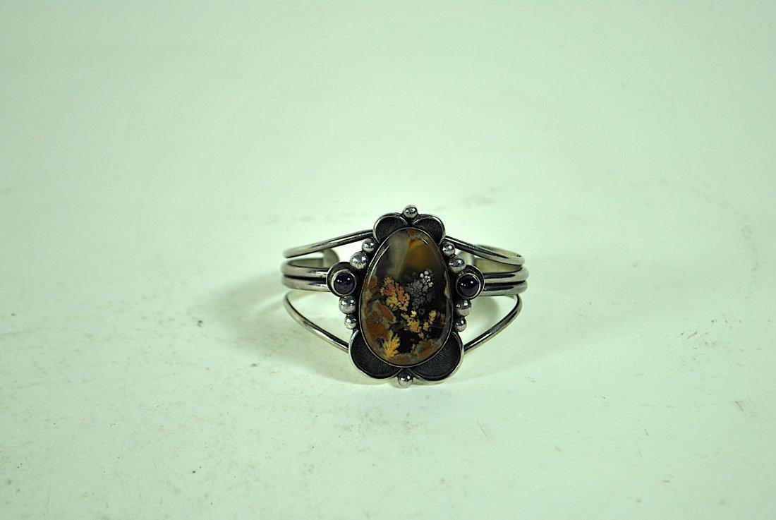 Signed Terner Navajo Sterling Cuff Bracelet